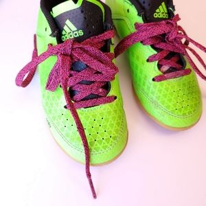 ADIDAS toddler Girl Indoor Soccer Neon laceup
